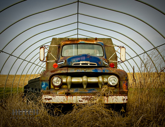 Old Ford Pickup Truck in Greenhouse